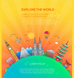 explore world - flat design travel composition vector image