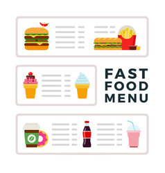 fast food menu with ice cream burgers and drinks vector image