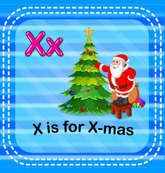 Flashcard letter x is for x-mas vector