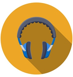Flat design headphones icon with long shadow vector image
