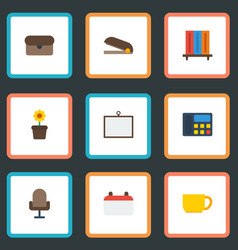 flat icons phone armchair whiteboard and other vector image