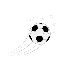 Flying football soccer ball motion trails white vector image