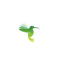 Geometric green hummingbird logo vector