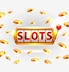 golden slots machine wins the jackpot vector image