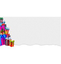 greeting card clip art banner with heap of gifts vector image