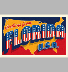 greetings from florida usa retro style postcard vector image
