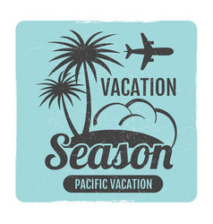 grunge summer travel logo design vector image