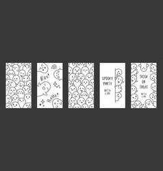 halloween ghost design set of social media vector image