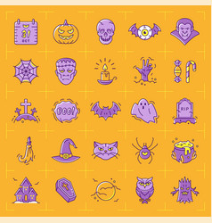 halloween icon set colorful icons vector image