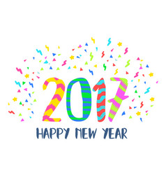 Happy new year 2017 colorful party decoration art vector