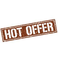 Hot offer square grunge stamp vector