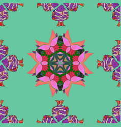 in cute textile style on green pink and violet vector image