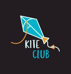 Kite club logo design on black background vector