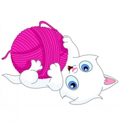 Kitten with wool ball vector