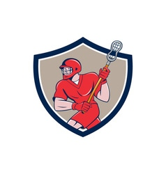 Lacrosse Player Crosse Stick Running Shield vector image