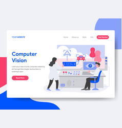 landing page template of computer vision concept vector image