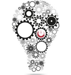 Light bulb gears inside with power button vector