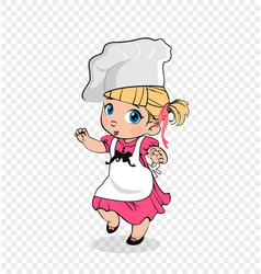 Little girl chef in apron and hat kids character vector