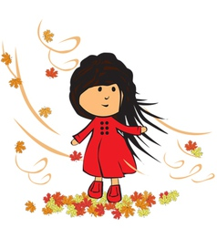 Little girl in autumn vector