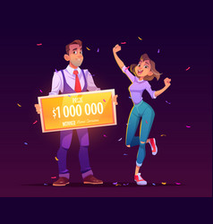 lucky girl win lottery jackpot for million dollars vector image