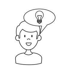 Man with speech bubble and bulb vector