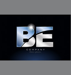 Metal blue alphabet letter be b e logo company vector