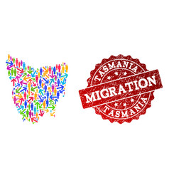 Migration composition of mosaic map of tasmania vector