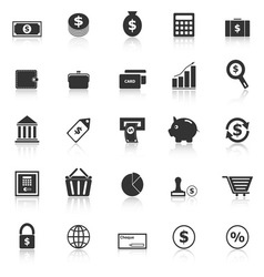 Money icons with reflect on white background vector