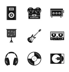 music stuff icon set simple style vector image