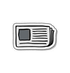 Newspaper doodle icon vector
