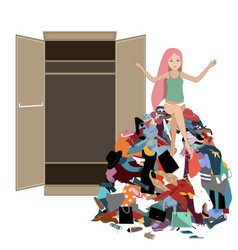 Nothing to wear concept young attractive stressed vector