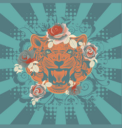 ornamental tiger portrait vector image
