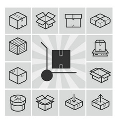 package icons set with boxes crates vector image vector image
