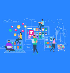 people shopping online on blue outline background vector image