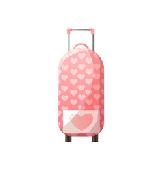 pink polycarbonate suitcase with wheels traveler vector image