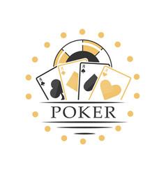 Poker logo black and golden emblem for gambling vector
