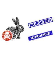 Rabbit toxin mosaic and grunge rectangle murderer vector