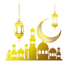 Ramadan kareem mosque building with moon vector