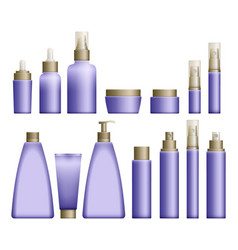 Realistic blue cosmetics bottles vector
