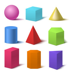 realistic detailed 3d color basic shapes set vector image