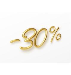 Realistic golden text 30 percent discount number vector