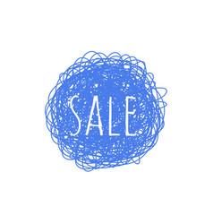 sale grunge textured banner - blue round shape vector image