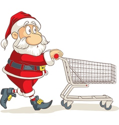 Santa Claus with Empty Shopping Cart Cartoo vector