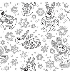seamless pattern with christmas deers in outline vector image