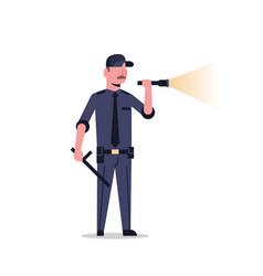 Security guard man in black uniform holding vector