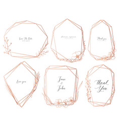 set of geometric frame hand drawn flowers vector image