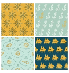 Set of Marine backgrounds vector image vector image