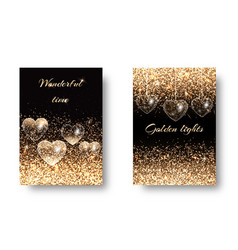 set of sparkling background with hearts vector image
