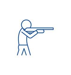 shooting a gun line icon concept shooting a gun vector image