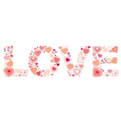 sign love made of hearts vector image